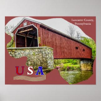 Ponte coberta - arte do poster -- PA do Condado de