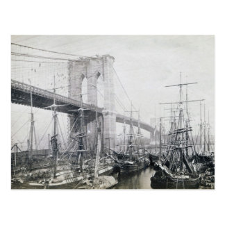 Ponte de Brooklyn cerca do cartão 1883