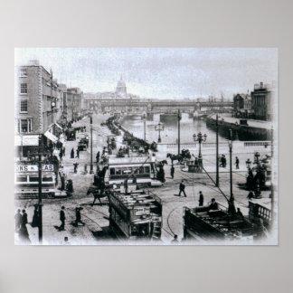 Ponte de O Connell e o rio Liffey, Dublin Poster