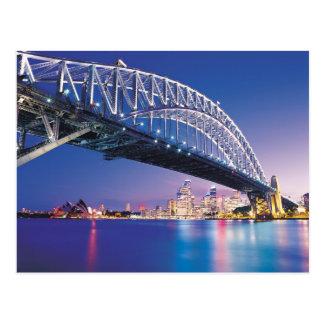 Ponte de porto de Sydney na noite Austrália Cartão Postal