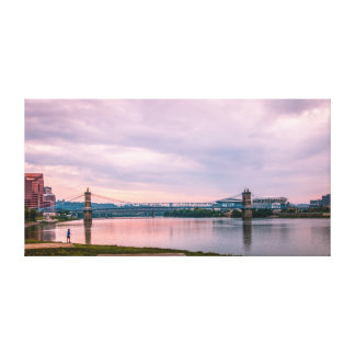 Ponte de suspensão de Roebling Impressão De Canvas Envolvida