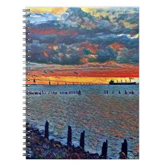 Ponte e caderno do mar