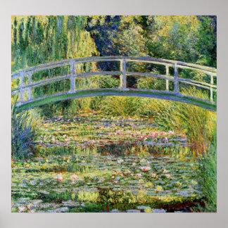 Ponte japonesa de Monet com o poster dos lírios de Pôster