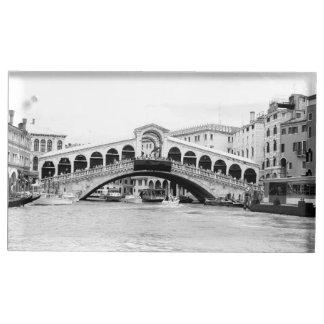 Ponte preto e branco de Rialto, Veneza Suporte Para Cartao De Mesa