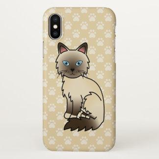 Ponto Birman do chocolate/desenho gato de Ragdoll Capa Para iPhone X
