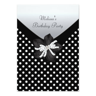 Ponto branco preto da festa de aniversário convite personalizado