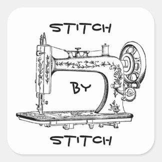 Ponto da máquina de costura do vintage pelo ponto adesivos