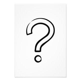 Ponto de interrogação dos desenhos animados convites personalizado