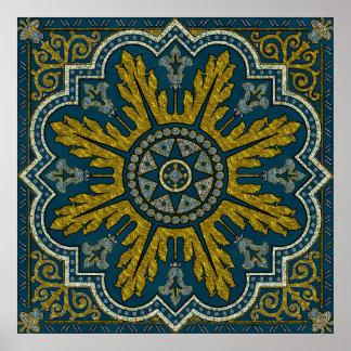 Ponto Deco da estrela do azul e do ouro Poster