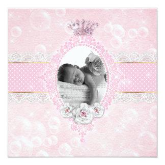 Ponto do ouro do rosa cor-de-rosa da coroa do bebé convite quadrado 13.35 x 13.35cm