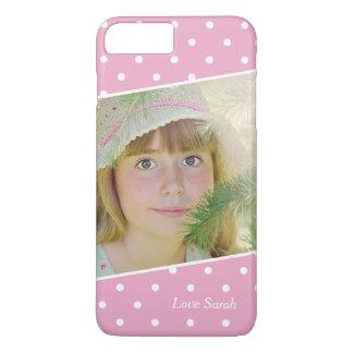 Pontos brancos cor-de-rosa femininos nome feito capa iPhone 7 plus
