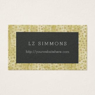 Pontos chiques do Glitz do ouro com preto Cartão De Visitas