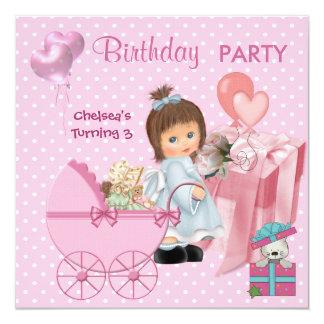 Pontos cor-de-rosa bonitos das meninas dos convite quadrado 13.35 x 13.35cm
