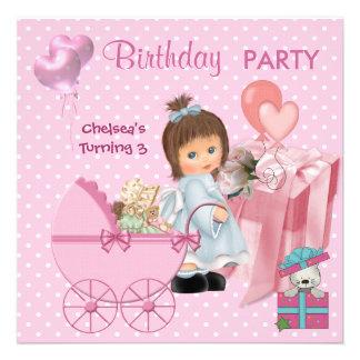 Pontos cor-de-rosa bonitos das meninas dos coraçõe convite personalizado