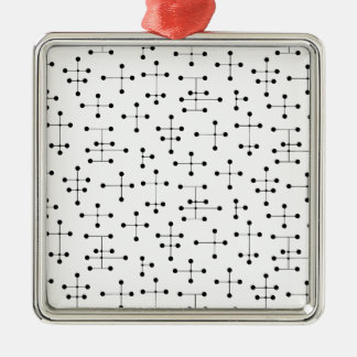 Pontos da era de Eames (pontos pretos) Ornamento Quadrado Cor Prata