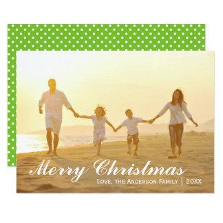 Pontos da foto w/Green do Feliz Natal - cartão 3x5 Convite 8.89 X 12.7cm