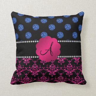Pontos do azul do damasco do brilho do rosa quente travesseiros de decoração