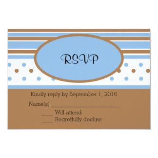 Pontos do azul e do Brown e listras RSVP Convite 8.89 X 12.7cm
