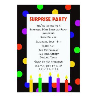 pontos do convite de aniversário da surpresa do 80