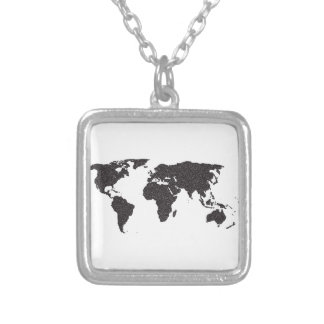 Pontos do esboço do mundo colar banhado a prata