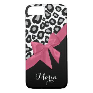Pontos do leopardo e arco cor-de-rosa com nome capa iPhone 7