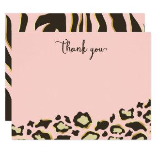 Pontos do leopardo & obrigado das listras do tigre convite 10.79 x 13.97cm
