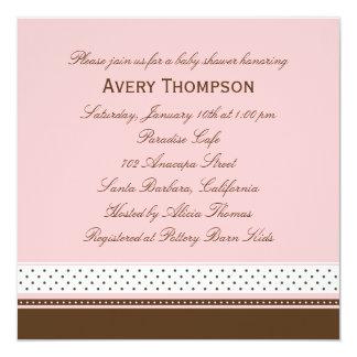 Pontos e convite do chá de fraldas das listras - convite quadrado 13.35 x 13.35cm