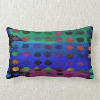 Pontos e listras coloridos modernos da aguarela almofada lombar