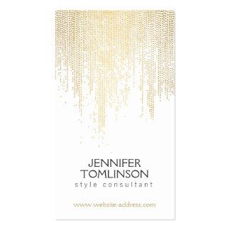 Pontos elegantes dos confetes do ouro do falso no cartão de visita