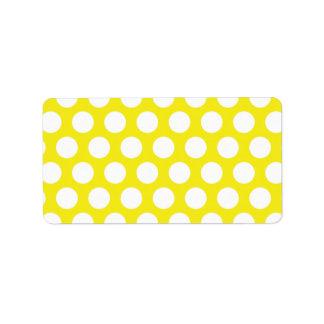 Pontos grandes no design amarelo etiqueta de endereço