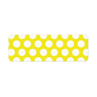 Pontos grandes no design amarelo etiqueta endereço de retorno
