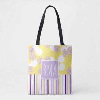 Pontos & listras amarelos & sacola roxa do bolsa tote