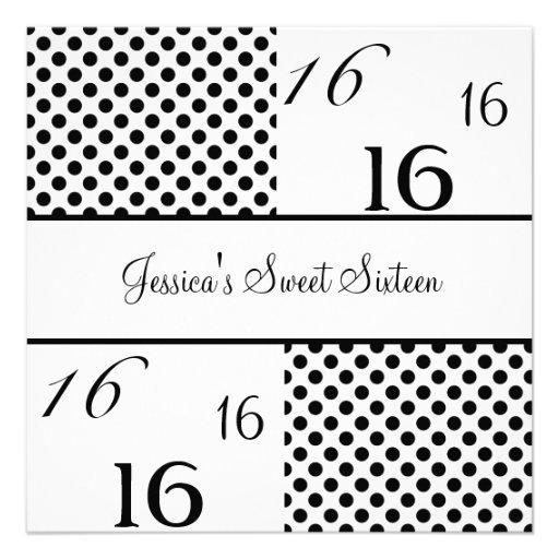 Pontos pretos & brancos da festa de aniversário do convites personalizado