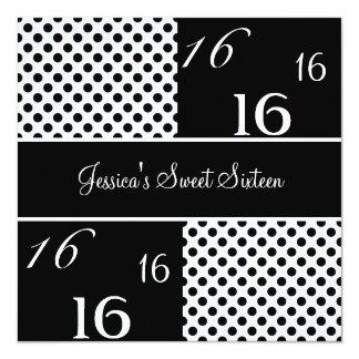 Pontos pretos & brancos da festa de aniversário do convites personalizados
