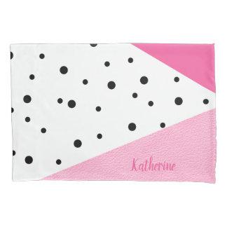 Pontos pretos de couro cor-de-rosa geométricos