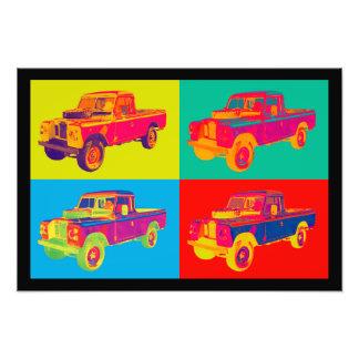 Pop art 1971 colorido do camionete de Land Rover Foto Artes