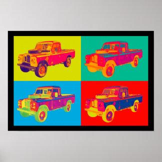 Pop art 1971 colorido do camionete de Land Rover Poster