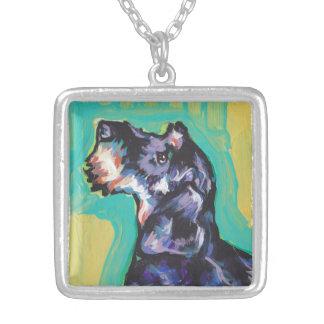 Pop art colorido brilhante do cão do doxie do colar banhado a prata