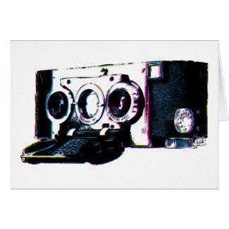 Pop art da imagem da câmera do vintage de CMYK Cartão