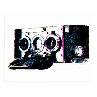 Pop art da imagem da câmera do vintage de CMYK Cartoes Postais