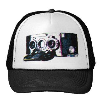 Pop art da imagem da câmera do vintage de CMYK Boné