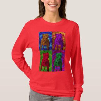 Pop art do pitbull em várias cores camiseta