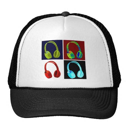 Pop art dos fones de ouvido boné
