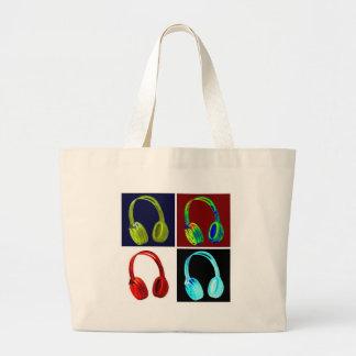 Pop art dos fones de ouvido sacola tote jumbo