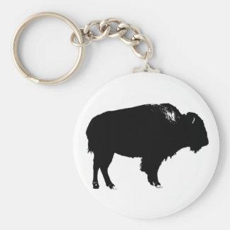 Pop art preto & branco da silhueta do búfalo do chaveiro