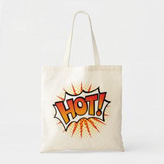 Pop art QUENTE! Design de texto Bolsa Tote