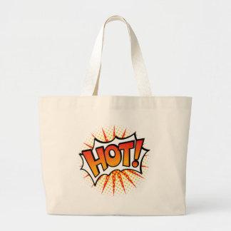Pop art QUENTE! Design de texto Bolsa Tote Grande