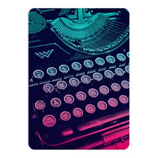Pop art retro legal da máquina de escrever do convite 12.7 x 17.78cm
