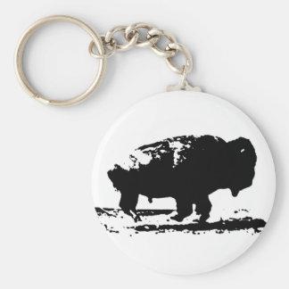 Pop art Running do bisonte do búfalo Chaveiro