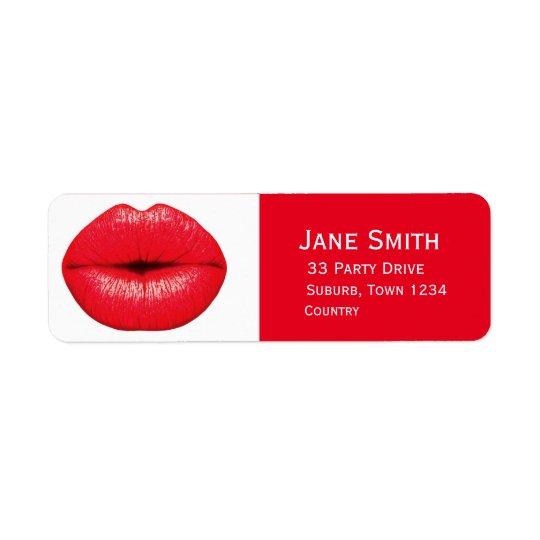 Pop art vermelho do batom do punk dos lábios etiqueta endereço de retorno